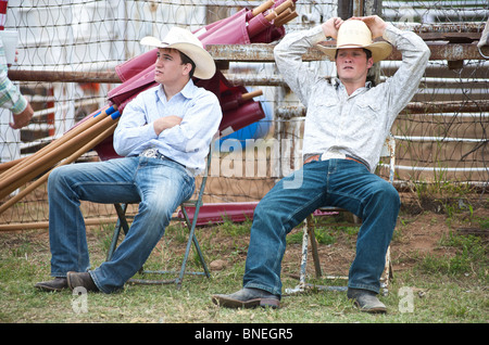 Cowboy members of PRCA rodeo event in Bridgeport, Texas, USA - Stock Photo