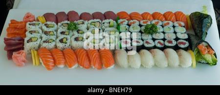 Japanese Food, Maki, Sushi, Salmon, Tuna, on a Plate - Stock Photo