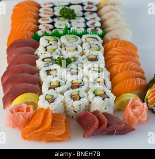 Japanese Food on a Plate, Platter Red TUna, Salmon, Sushi - Stock Photo