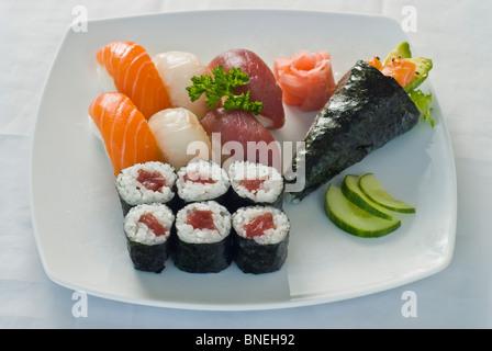 Japanese Food on a Plate, Sushi and Maki, Red Tuna, Salmon - Stock Photo