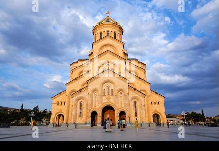 Tsminda Sameba Cathedral, Tbilisi, Georgia - Stock Photo