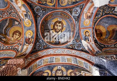 Frescoes inside Karanlik Chruch, Gorome Open Air Museum, Cappadocia, Turkey - Stock Photo
