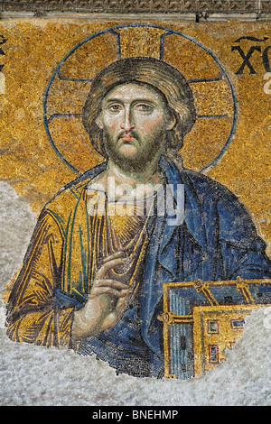 The Deisis mosaic depicting Jesus Christ, Hagia Sophia Museum, Istanbul, Turkey - Stock Photo