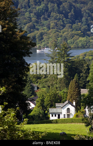 View of a house overlooking Lake Windermere near Bowness Cumbria - Stock Photo