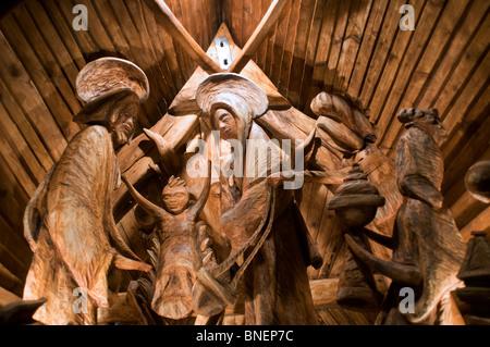 Nativity scene made of wood in Czech republic - Stock Photo