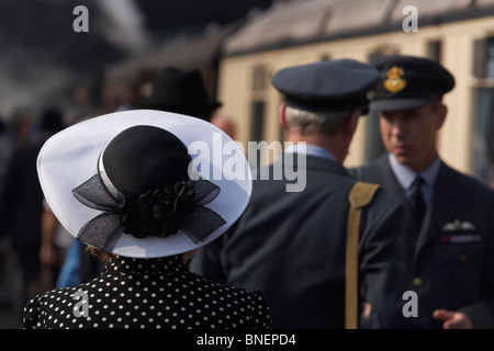 Black and white hat on lady at 1940's weekend at Weybourne, North Norfolk Railway, Norfolk, England, United Kingdom - Stock Photo