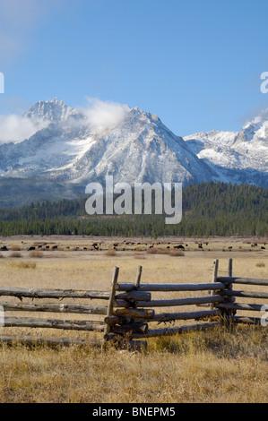 Sawtooth Mountains, Sawtooth Wilderness / National Recreation Area, Rocky Mountains, Idaho, USA - Stock Photo