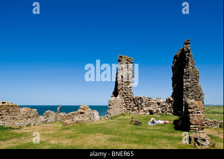 Reculver Towers & Roman Fort, Kent, United Kingdom - Stock Photo