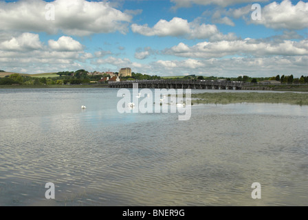 The River Adur with the Old Toll Bridge and Lancing College in the background - Shoreham-By-Sea, West Sussex. - Stock Photo