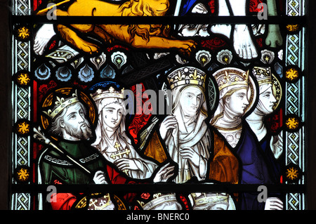 Royal saints stained glass, All Saints Church, Ladbroke, Warwickshire, England, UK - Stock Photo