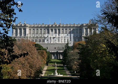 Rear view of the Palacio Real (Royal Palace), also known as Palacio de Oriente (The East Palace) in Madrid - Stock Photo