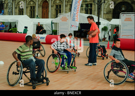 Paris, France, French Handicapped Sports, Students Playing Basketball in Wheelchairs - Stock Photo