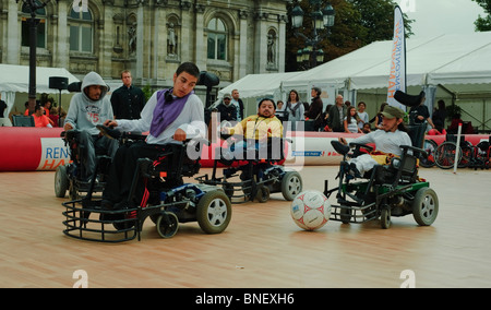 Paris, France, French Handicapped Sports, Students Playing Basketball  Wheelchairs - Stock Photo