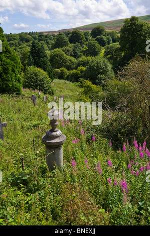 Overgrown graveyard next to the World Heritage Centre in Blaenavon Torfaen South Wales Valleys UK - Stock Photo