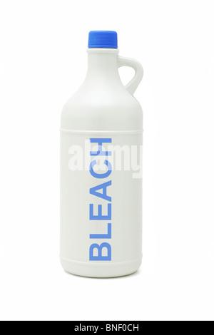 Plastic bottle of household bleach on white background