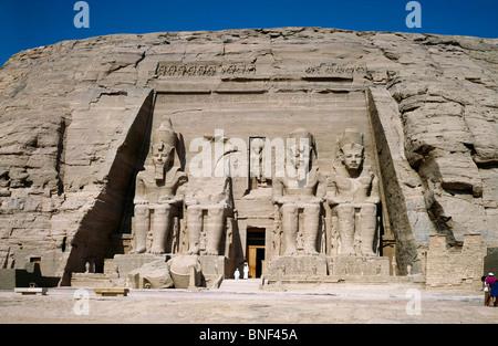 Facade of a temple, Great temple of Rameses II, Abu Simbel, Egypt - Stock Photo