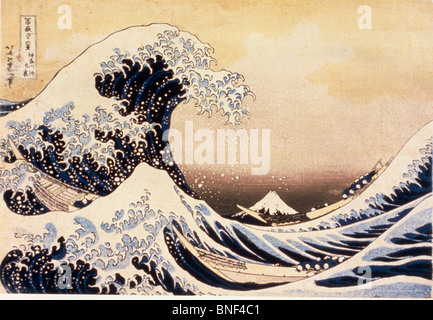 The Great Wave off Kanagawa by Katsushika Hokusai woodblock print Edo Period 19th century 1760-1849 Japan Tokyo - Stock Photo