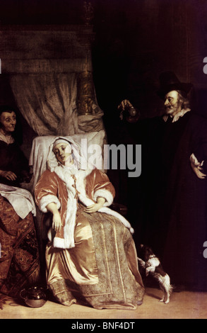 Physician Visiting a Sick Girl by Gabriel Metsu, oil on canvas, 17th century, 1629-1667, Russia, St. Petersburg, - Stock Photo