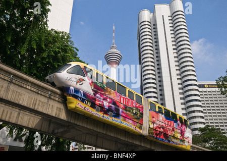 KL Monorail and Menara KL Tower Kuala Lumpur Malaysia - Stock Photo
