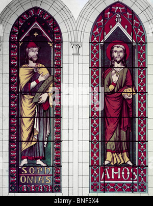 Prophets, the Sophonias And Amos, 13th Century, Stained Glass, STAINED GLASS - Stock Photo