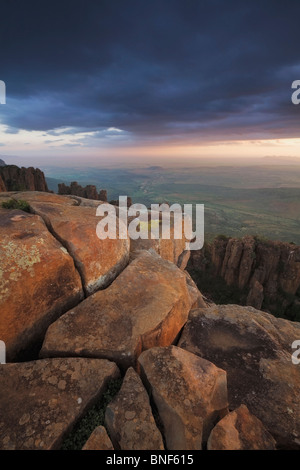 View of Great Karoo from Valley of Desolation at sunset, Graaff Reinet, Eastern Cape Province, South Africa - Stock Photo