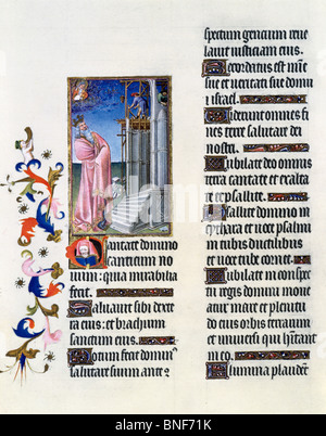 USA New York Metropolitan Museum of Art Book of Hours: David Building the Temple by Limbourg Brothers Illuminated - Stock Photo