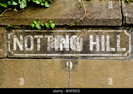 Road Sign saying 'Notting Hill' - Stock Photo