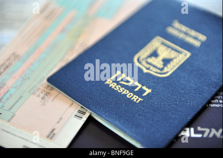 Israeli passport Passports and Immigration Permits Israel travel documents and citizenship - Stock Photo