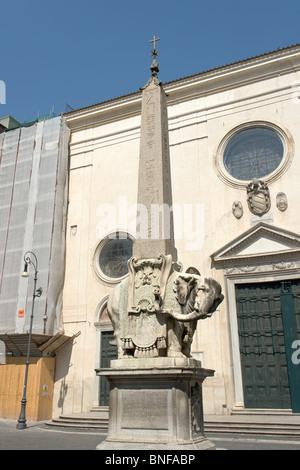Elefantino in Piazza della Minerva, Rome - Stock Photo