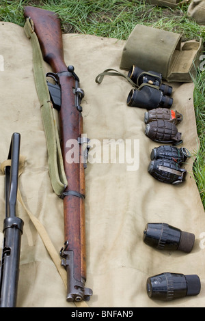 Grenades and Riffles at A reenactment in Northamptonshire - Stock Photo