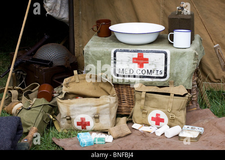 Army First Aid Tent at A Festival In Northampton - Stock Photo