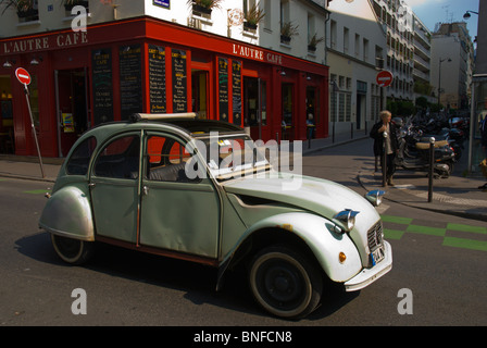 Citroen 2CV in the streets of Le Marais district Paris France Europe - Stock Photo