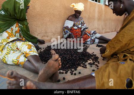 Women sort shea nuts at the Dembayouma shea processing center in the village of Bankoumana, near Bamako, Mali - Stock Photo