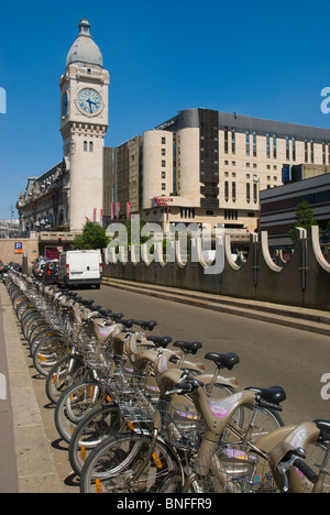 Velib rental bicycles Bercy district central Paris France Europe - Stock Photo