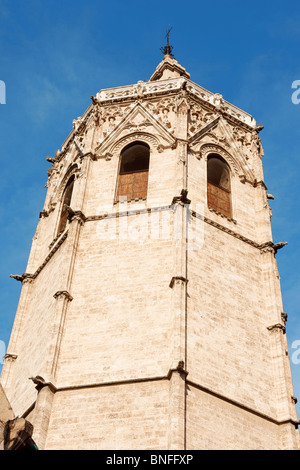 El Miguelete the gothic bell tower of Valencia Cathedral in Spain. - Stock Photo