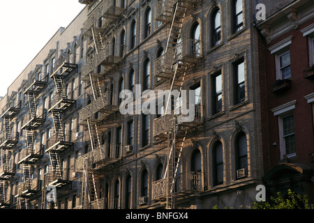 outside fire escape on New York residential building - Stock Photo