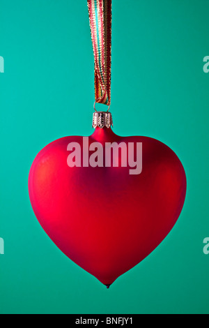 Red heart Xmas ornament - Stock Photo
