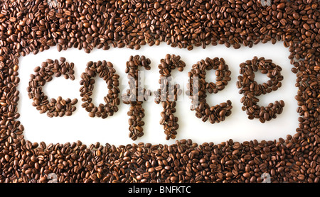 Coffe Beans making the word coffee - Stock Photo