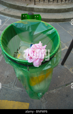 Flower in a bin Paris France Europe - Stock Photo