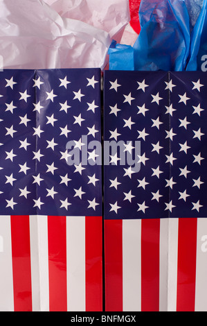 Shopping American Flag gift bags - Stock Photo