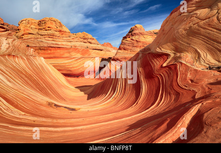 Eroded sandstone formations in Vermilion Cliffs National Monument, Arizona - Stock Photo