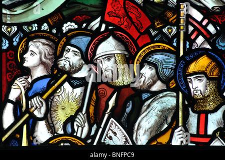 Warrior saints stained glass, All Saints Church, Ladbroke, Warwickshire, England, UK - Stock Photo