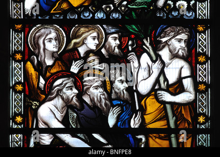 Hermit saints stained glass, All Saints Church, Ladbroke, Warwickshire, England, UK - Stock Photo