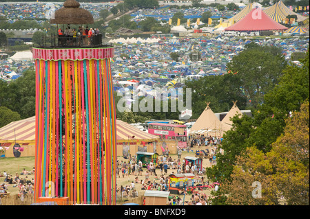 The Ribbon Tower overlooking the Glastonbury Festival, Somerset, UK. 2010 - Stock Photo