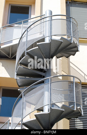 Spiral Fire Escape staircase outside hotel in Cannes, Cote d'Azur, France - Stock Photo
