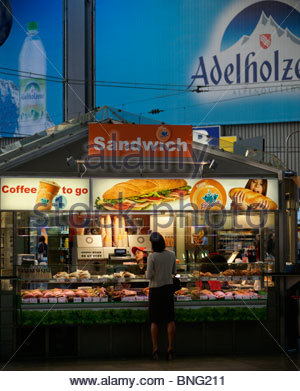 Take away sandwiches for sale at Munich railway station Germany - Stock Photo