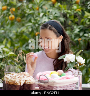 young woman,easter eggs and dove - Stock Photo