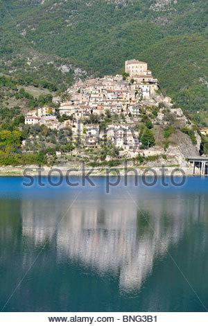 castel di tora,turano lake,lazio,italy - Stock Photo