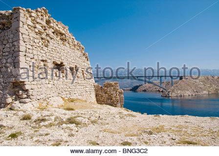 paski most and bridge,pag island,croatia - Stock Photo