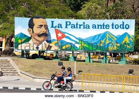 Revolutionary poster. Santiago de Cuba,province of Santiago,Cuba - Stock Photo